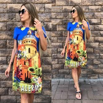 Платье короткое с принтом современное Т5312