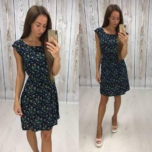 Платье короткое с принтом черное Т5727