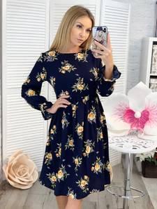Платье короткое с длинным рукавом с принтом Ц3378