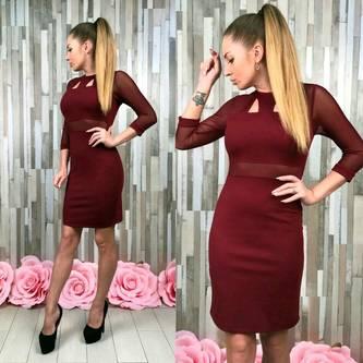 Платье короткое однотонное облегающее Т5325
