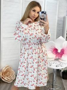 Платье короткое с длинным рукавом с принтом Ц3379