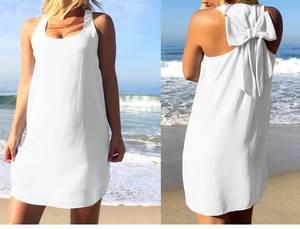 Платье короткое однотонное белое Т4864