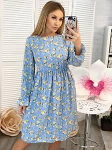 Платье короткое с длинным рукавом с принтом Ц3380