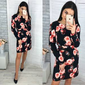 Платье короткое с длинным рукавом Я0193