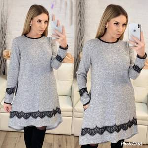 Платье короткое с длинным рукавом Ю1789