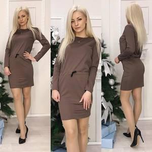 Платье короткое с длинным рукавом Ч0696