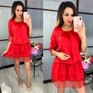 Платье короткое красное Ц9476