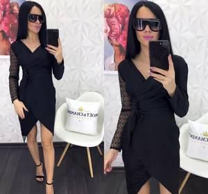 Платье короткое черное Ю4913