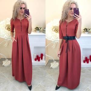 Платье длинное однотонное Ш7390