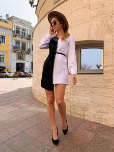 Платье короткое с длинным рукавом Ц5383