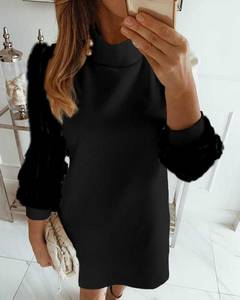 Платье короткое черное Ю2218