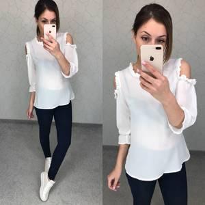 Блуза белая прозрачная Т5775