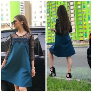 Платье короткое с рукавом 3/4 Ц7628