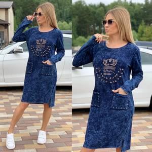 Платье короткое с длинным рукавом Ч2033
