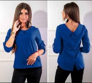 Блуза (т. синяя)  с коротким рукавом Я1778
