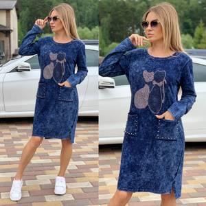 Платье короткое с длинным рукавом Ч2035
