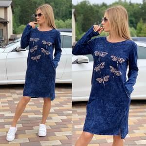 Платье короткое с длинным рукавом Ч2036