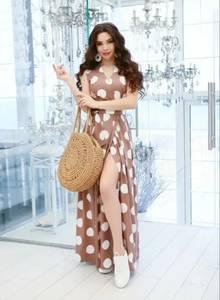 Платье длинное с разрезом на ноге А31591