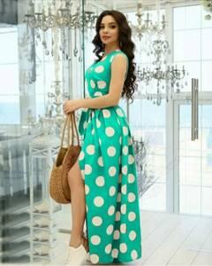 Платье длинное с разрезом на ноге А31592