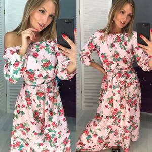 Платье длинное с принтом Ч1590