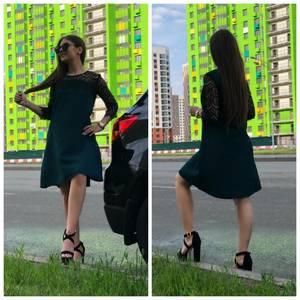 Платье короткое с рукавом 3/4 Ц7629