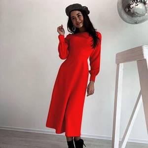 Платье длинное красное Ю0443