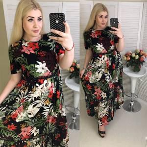 Платье длинное с принтом Ц8397