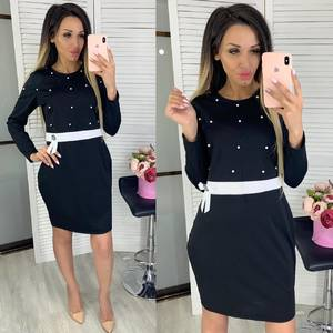 Платье короткое с длинным рукавом Ц7858