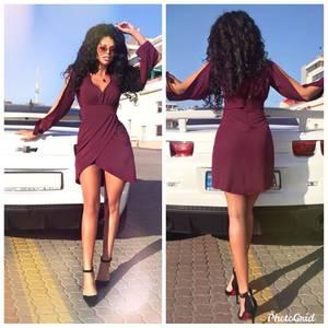 Платье короткое с длинным рукавом Ю3923