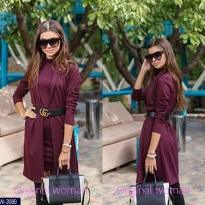 Платье Двойка короткое нарядное Ч3888