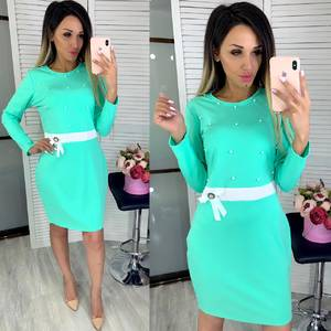 Платье короткое с длинным рукавом Ц7859