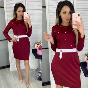 Платье короткое с длинным рукавом Ц7860
