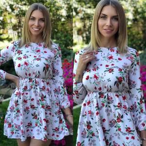 Платье короткое с принтом Я7473