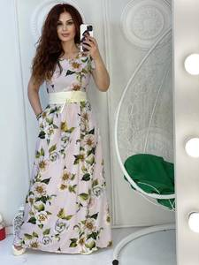 Платье длинное с принтом А38338