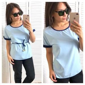 Блуза голубая с коротким рукавом Т4321