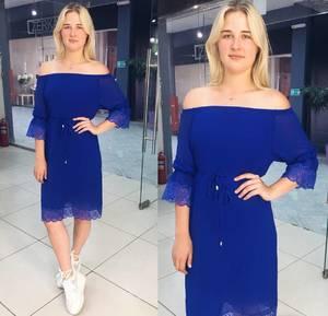 Платье короткое повседневное синее Т8065