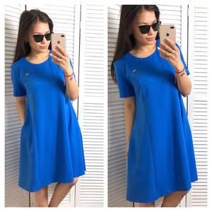 Платье короткое однотонное синее Т1528