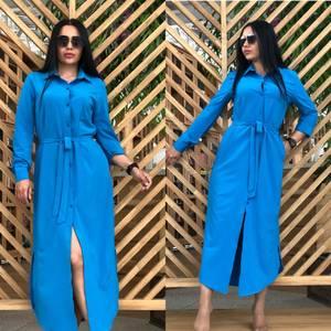 Платье рубашка длинное синее Т7828