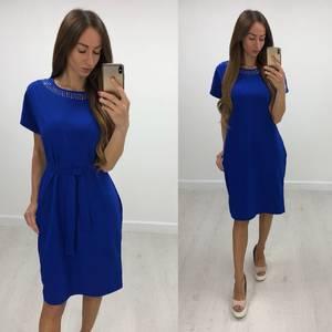Платье короткое нарядное синее Т7840