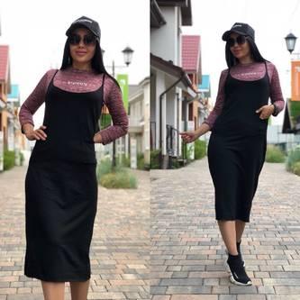 Платье Двойка длинное черное повседневное Т7859