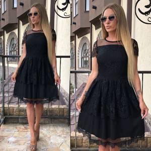 Платье короткое коктейльное черное Т7861
