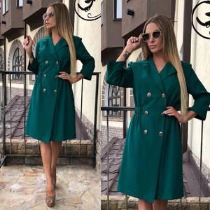 Платье короткое зеленое однотонное Т7879