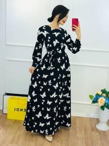 Платье длинное с принтом Ю5773