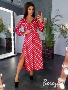 Платье длинное в горошек Ю6446