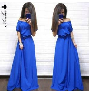 Платье длинное однотонное Ю9599