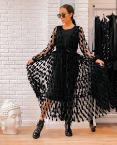 Платье длинное черное А04485