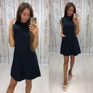 Платье короткое повседневное однотонное Т7805