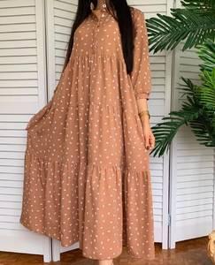 Платье длинное в горошек А50915