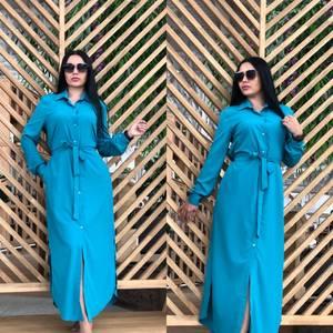 Платье рубашка длинное синее Т7829