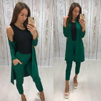 Костюм Тройка трикотажный модный зеленый Т7849